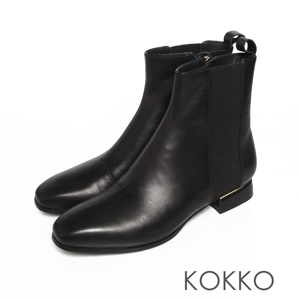 KOKKO時髦方頭小牛皮拉鍊粗跟短靴霧面黑