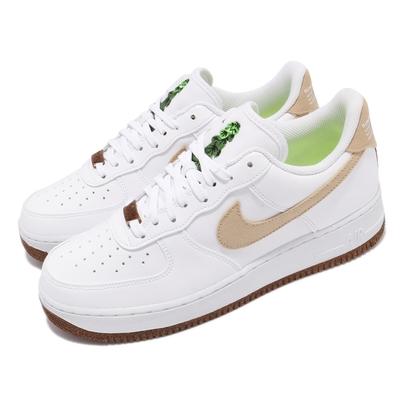Nike 休閒鞋 Air Force 1 07 LV8 男女鞋 經典款 舒適 球鞋 穿搭 植物刺繡 白 棕 CZ0338101