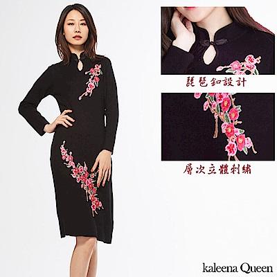 KaleenaQueen 琵琶釦花語立體刺繡針織旗袍-黑