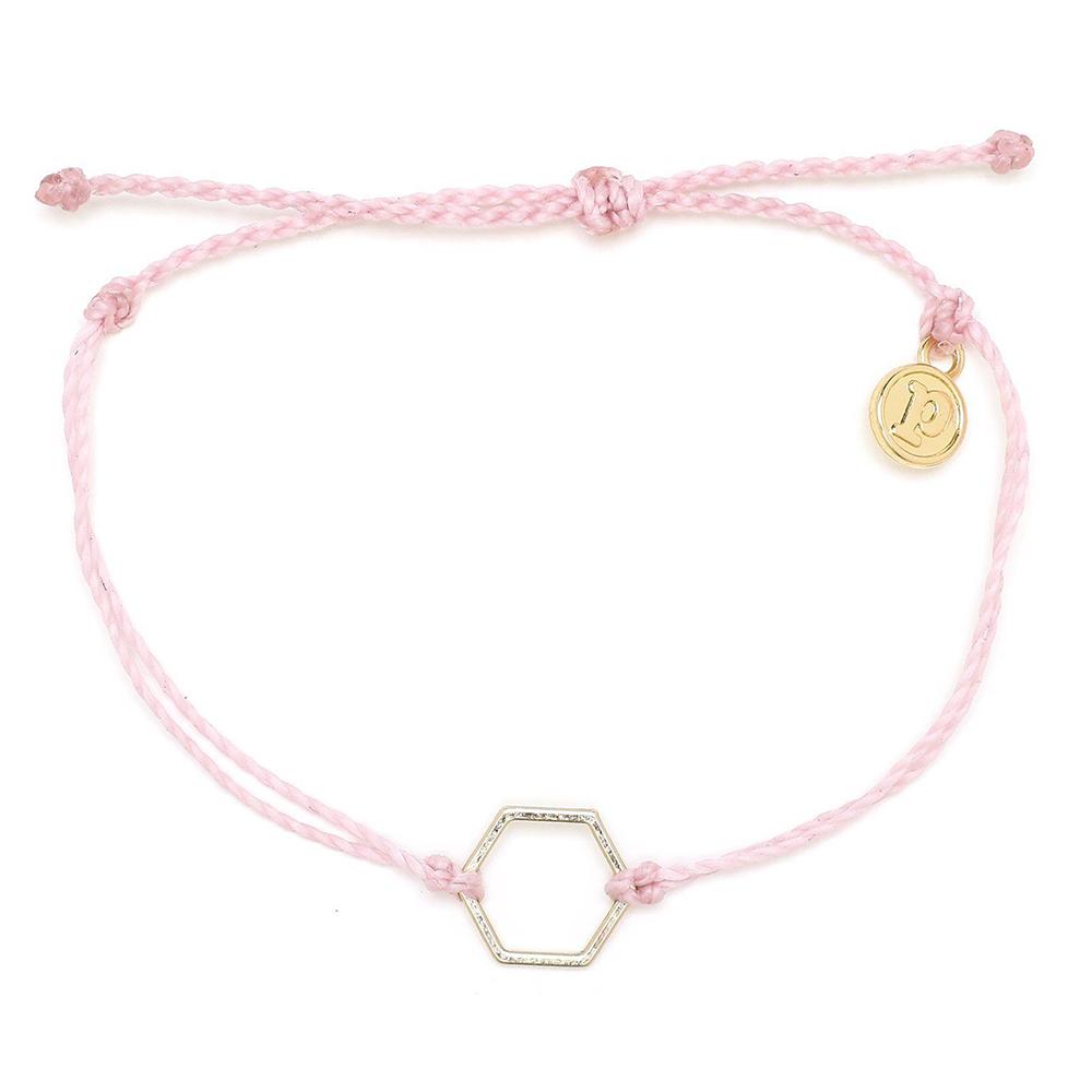 Pura Vida 美國手工 金色六角形 粉色臘線衝浪手鍊手環