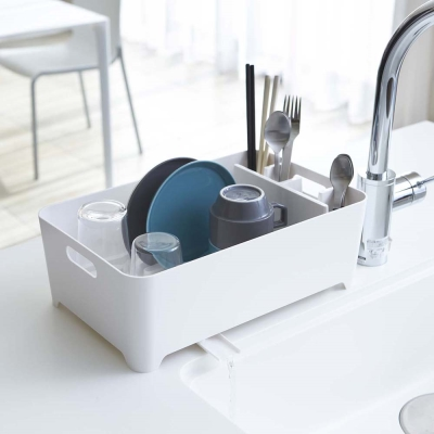 【YAMAZAKI】AQUA洗滌瀝水兩用籃-白★置物架/多功能收納/廚房用品/居家收納