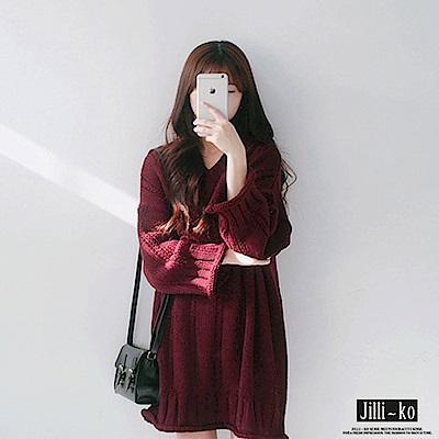 Jilli-ko 韓版V領麻花毛線連衣裙 -杏/深紅