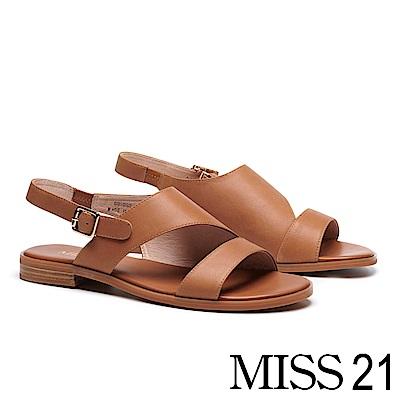 涼鞋 MISS 21 率性俐落剪裁真皮低跟涼鞋-咖