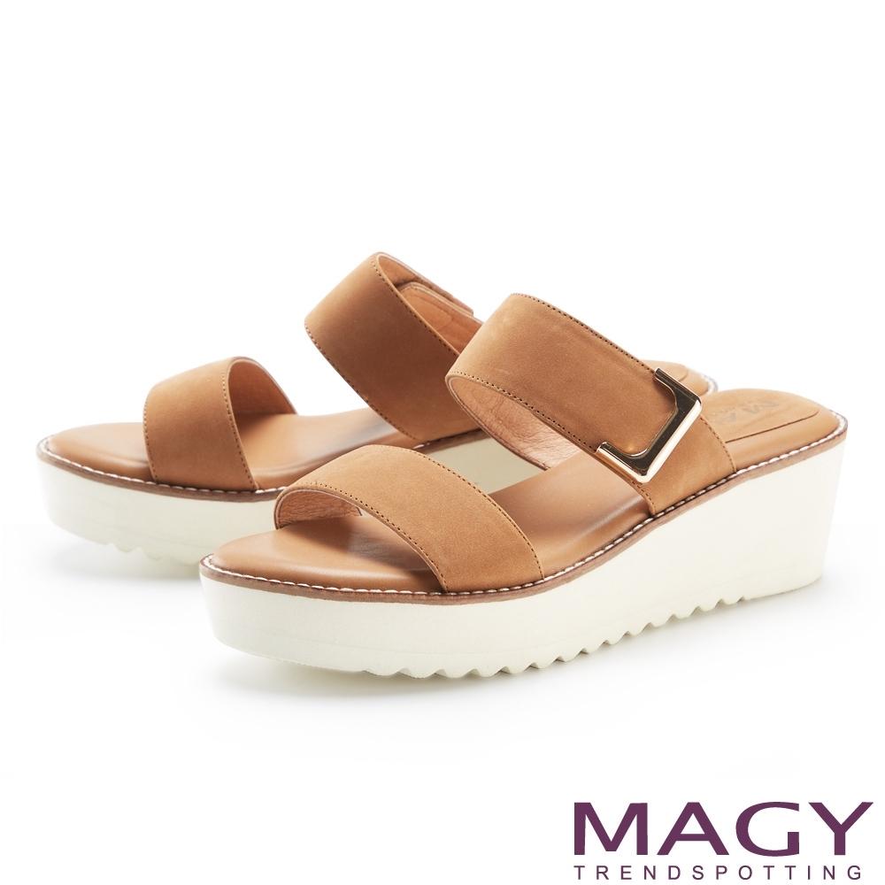 MAGY 五金造型裝飾真皮厚底 女 拖鞋 棕色