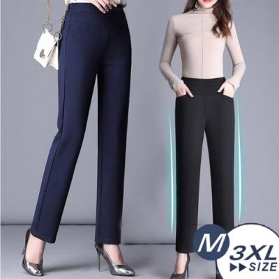 【LANNI 藍尼】高端四面彈收腹直筒褲-2色(M-3XL)●