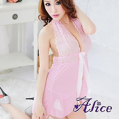 Alice極度誘惑性感粉紅櫻花蕾絲睡衣女(AK057)