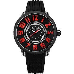 Tendence 天勢 酷炫LED立體休閒手錶-紅x黑/50mm TY531001