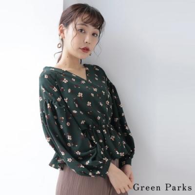 Green Parks  鬆緊腰身氣質花柄V領襯衫上衣