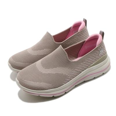 Skechers 休閒鞋 Go Walk Stretch Fit 女鞋 寬楦 緩震 輕盈 舒適 透氣瑜珈鞋墊 灰 粉 124385WTPPK