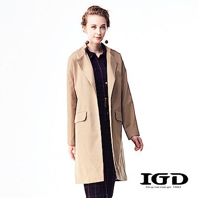 IGD英格麗 英倫都會風經典小立領風衣外套-卡其