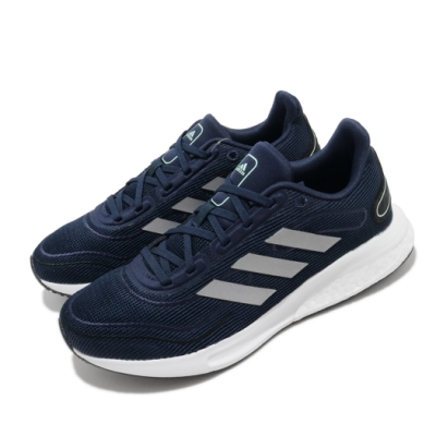 adidas 慢跑鞋 Supernova J 運動休閒 女鞋 愛迪達 路跑 緩震 透氣 球鞋穿搭 大童 藍 銀 FW9111