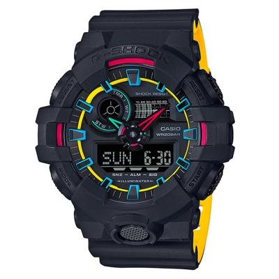 G-SHOCK街頭創新螢光元素設計休閒錶(GA-700SE-1A9)黃黑雙色帶53.4mm