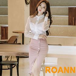 翻領襯衫+包臀半身裙兩件套 (白色)-ROANN