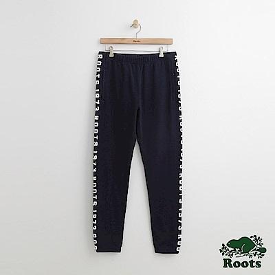 Roots-男裝-雙側字標棉質長褲-藍色