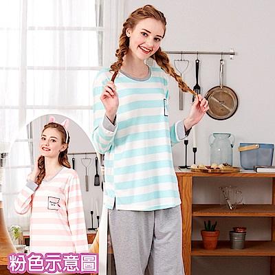 睡衣 條紋紅鶴 針織棉長袖兩件式睡衣(R77205-2粉色) 蕾妮塔塔