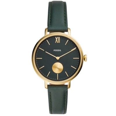 FOSSIL Kalya優雅質感時尚真皮手錶(ES4662)-綠X金框/36mm