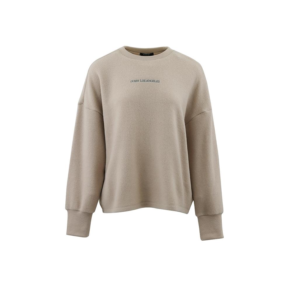 GUESS-女裝-文字刺繡純色絨毛長袖上衣-卡其 原價2990