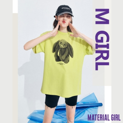 MATERIAL GIRL 黑白潮流印花兔兔上衣【13143】