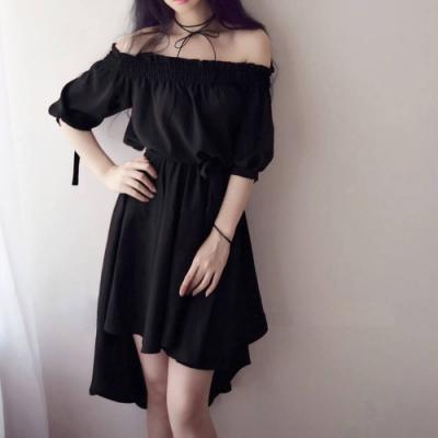 La Belleza一字領鬆緊領口可露肩附綁帶前短後長袖綁帶洋裝