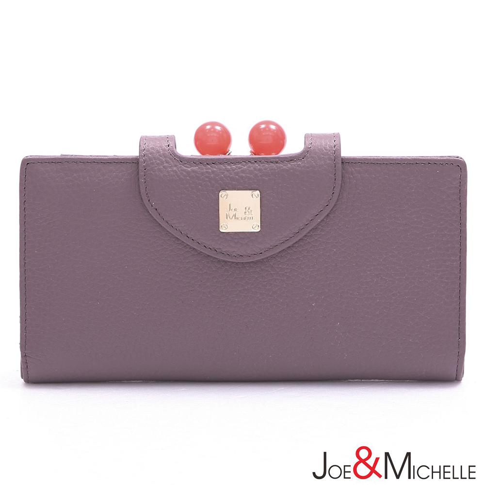 J&M 真皮愛蜜莉框釦長夾 藕芋紫