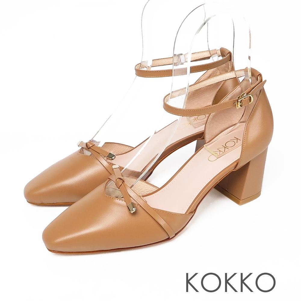 KOKKO 韓系女神方頭羊皮繫帶粗跟鞋奶茶色