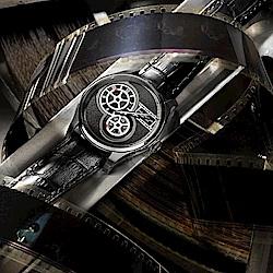 Hamilton 漢米爾頓 JAZZMASTER 非對稱復古電影膠捲盤機械錶-黑/42mm