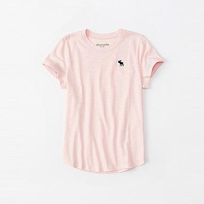 麋鹿 AF A&F 經典麋鹿標誌素面短袖T恤(女青年款)-粉色
