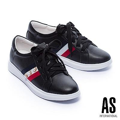 休閒鞋 AS 時髦格式珍珠設計綁帶厚底休閒鞋-黑