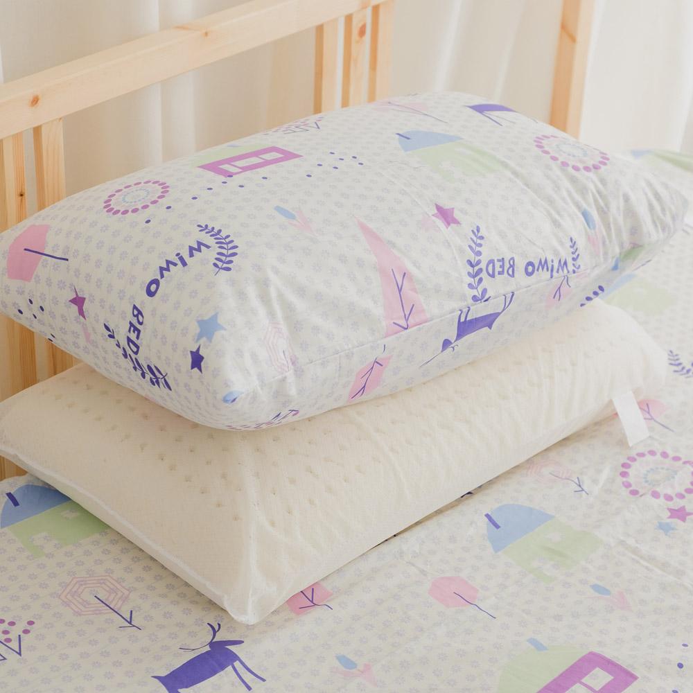 米夢家居-夢想家園系列-100%精梳純棉信封式標準枕通用布套(白日夢)二入
