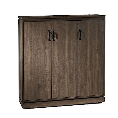 品家居 莫比達3.9尺木紋三門鞋櫃-117x40x123cm免組