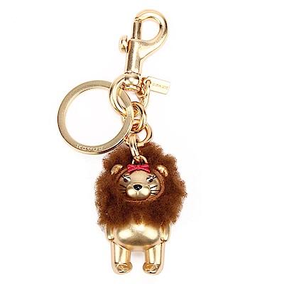 COACH 可愛3D立體 LION BEAR 熊熊金屬鑰匙圈-金色
