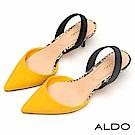 ALDO 原色尖頭佐羊皮鞋墊拉帶式細跟鞋~芥末黃色