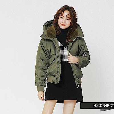 H:CONNECT 韓國品牌 女裝-抓皺短版連帽外套-綠