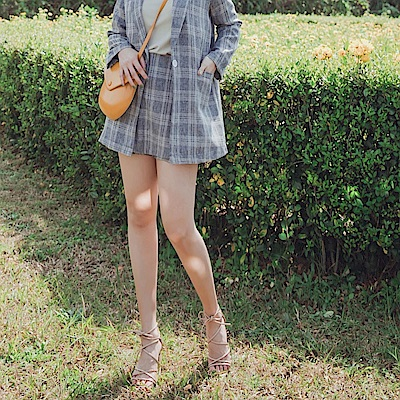 iMODA STAR-滿版親膚格紋修身短褲裙/套裝
