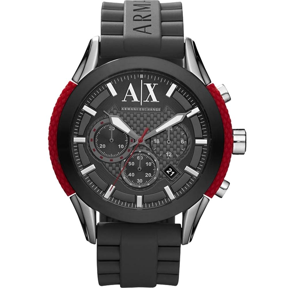 A│X Armani Exchange 卓越計時運動錶(AX1211)-黑/47mm