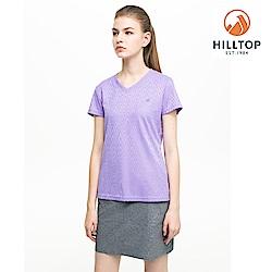 【hilltop山頂鳥】女款吸濕快乾抗UV彈性緹花T恤S04FI3紫羅蘭