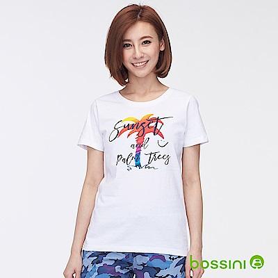 bossini女裝-印花短袖T恤34白