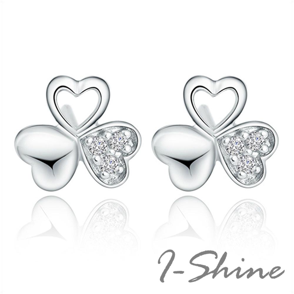 I-Shine-正白K-愛心三葉草-幸運草造型愛心鑲鑽銀色耳針耳環DB31