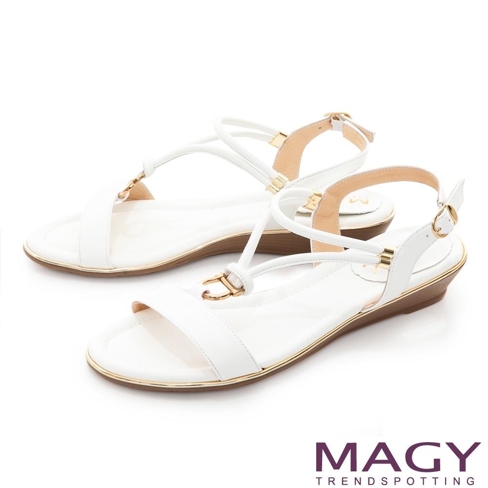 MAGY Y字踝帶楔型低跟 女 涼鞋 白色