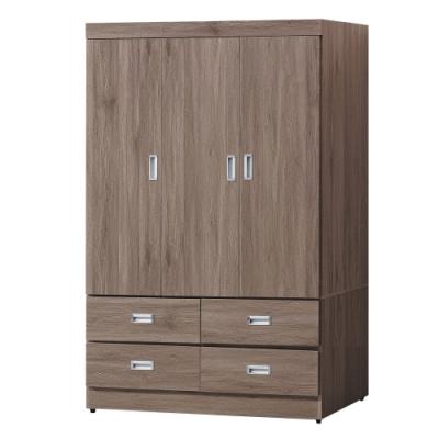 綠活居 朗尼現代風3.9尺三門四抽衣櫃/收納櫃-116x56x175cm免組