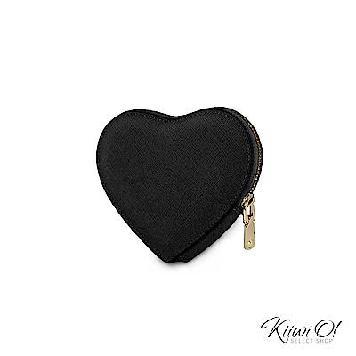 Kiiwi O! 真皮十字紋心型鑰匙包 Heart 黑