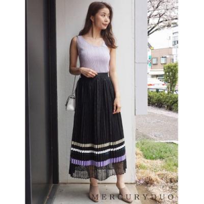 MERCURYDUO 絲綢緞面百褶拼色長裙(3色)