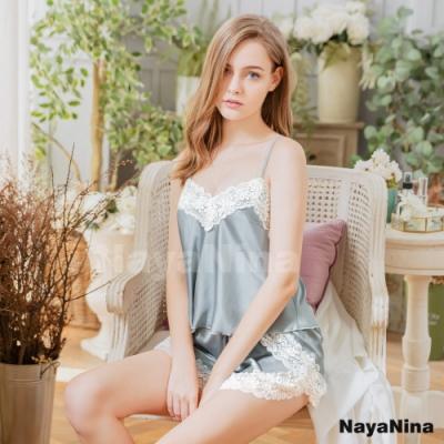 Naya Nina 優雅銀灰蕾絲拼接二件式衣短褲居家套裝睡衣-灰F
