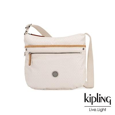 Kipling 低調米白菱格紋前拉鍊側背包-ARTO-EDGELAND系列