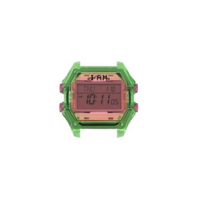 I AM 玩色新革命電子錶-綠殼粉橘錶盤_小(IAM-007)37x40mm