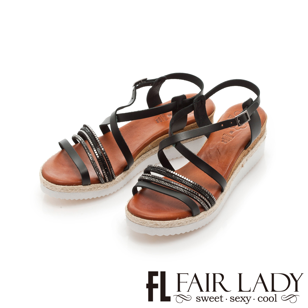 【FAIR LADY】PORRONET 交叉繞帶厚底楔型涼鞋 黑