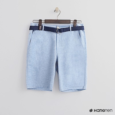 Hang Ten - 腰帶造型牛仔刷色短褲 - 淺藍