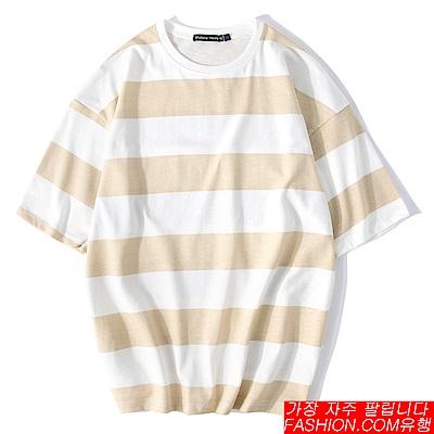 FASHION館 韓系oversize麻花條紋短T 情侶GD