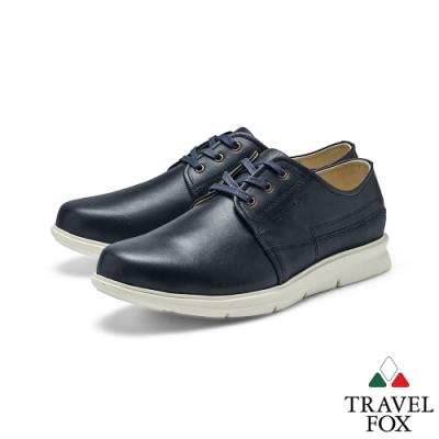 TRAVEL FOX(男) 都會派寬楦舒適綁帶彈性大底休閒鞋 -雙料黑
