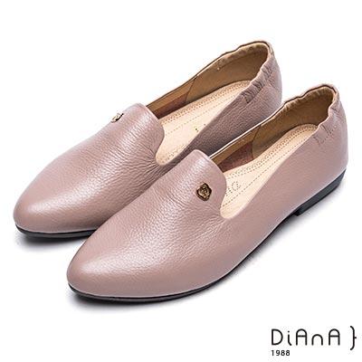 DIANA 漫步雲端厚切焦糖美人-極簡風尚百搭真皮低跟樂福鞋-可可